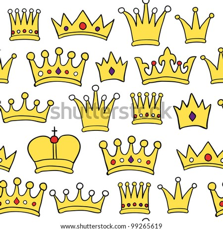 Seamless crown pattern on white background. Vector illustration