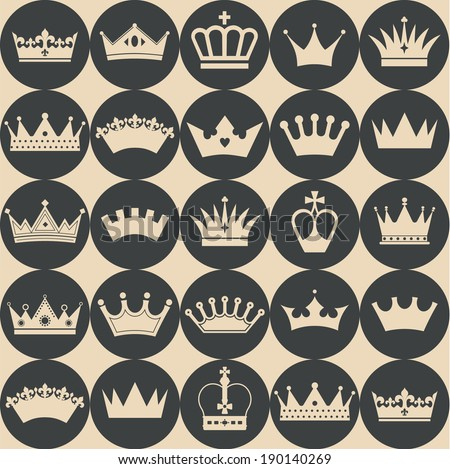 Seamless crowns pattern - stock vector