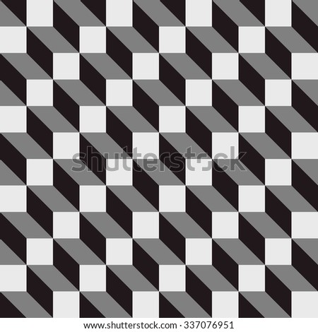 seamless cubic pattern background with optical illusion - stock vector