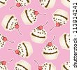 Seamless cupcake pattern. Hand drawn background. - stock vector