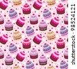 Seamless cupcake pattern. vector - stock photo