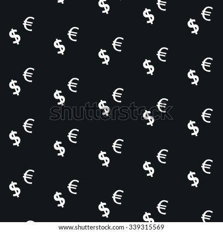 Seamless currency euro dollar patern for your work: document, presentation, web and mobile applications, business infographic, illustration template design, site,cover, poster - stock vector