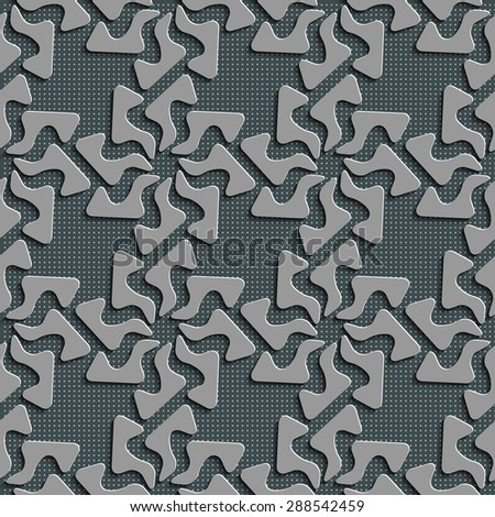 Seamless Curved Shape Pattern. Abstract Gray Background. Vector Regular Texture - stock vector