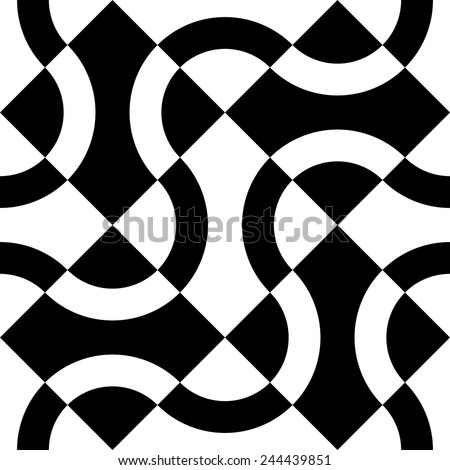 Seamless Curved Shape Pattern. Vector Monochrome Background - stock vector