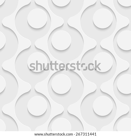 Seamless Curved Shape Pattern. Vector Soft Background. Regular White Texture - stock vector