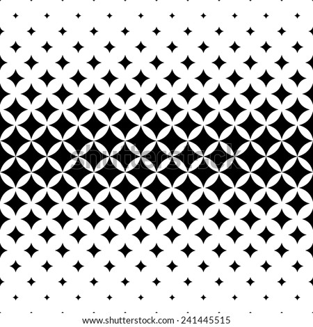 Seamless curved star pattern - stock vector