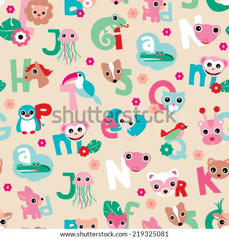 Seamless cute animal kids alphabet abc woodland illustration background pattern in vector - stock vector
