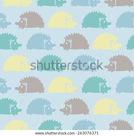 Seamless cute baby pattern with colored hedgehogs, purple, yellow, blue Vector illustration eps 10 - stock vector