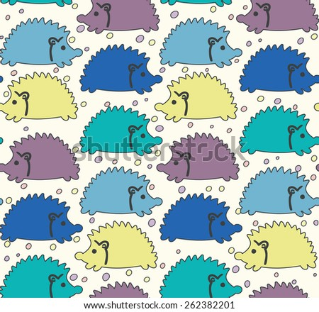 Seamless cute baby pattern with colored hedgehogs with ears, purple, yellow, blue, green Vector illustration eps 10 - stock vector