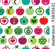 Seamless cute bright colorful retro apple pattern in vector - stock