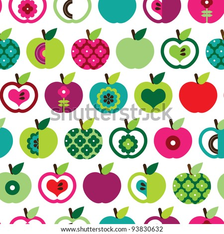 Seamless cute bright colorful retro apple pattern in vector - stock vector