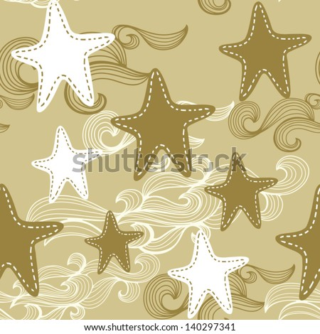 Seamless cute bright colorful retro star pattern in vector/gold.