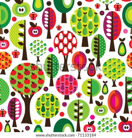Seamless cute butterfly tree apple and pear pattern in vector - stock vector