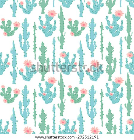 Seamless cute cactus flower vector pattern - stock vector
