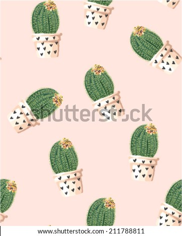seamless cute cactus in a pot with flower vector pattern background - stock vector