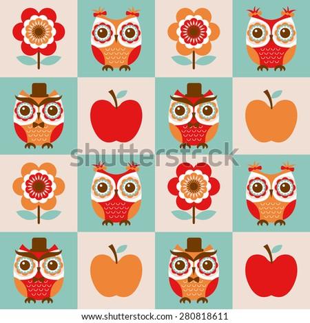 seamless cute cartoon owls birds pattern background - stock vector
