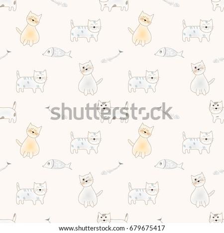 seamless cute cats fish bone pattern stock vector 679675417