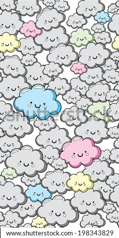 Seamless Cute Clouds Vector Pattern - stock vector