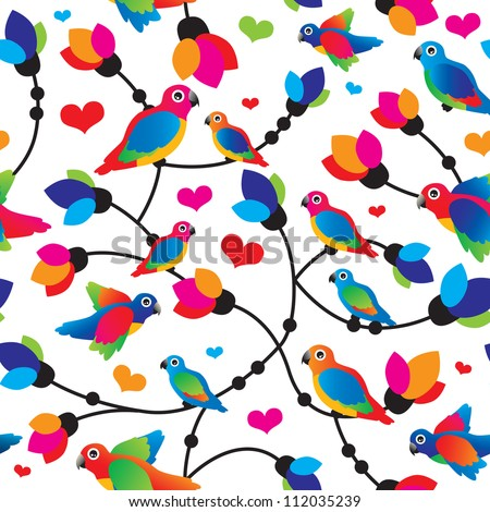 Seamless cute colorful parrot bird tropical illustration background pattern in vector - stock vector