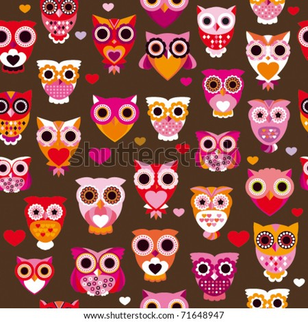 Seamless cute colourfull retro owl pattern background in vector - stock vector