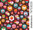 Seamless cute cup cake background pattern in vector - stock vector