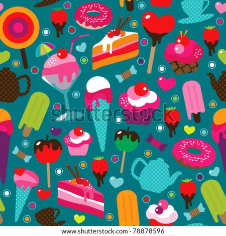Seamless cute cup cake candy and tea pot background pattern in vector - stock vector