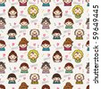 seamless cute family pattern,vector illustration - stock vector
