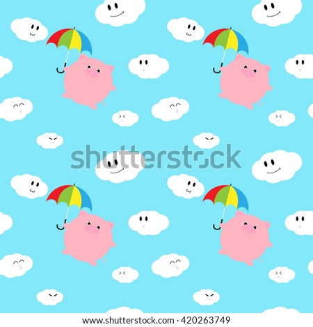 Seamless cute fat pig holding Colorful umbrella on the blue sky. Pattern vector background design.