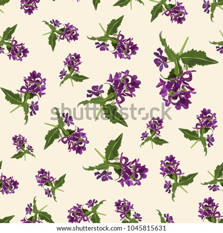Seamless Cute Floral Pattern Purple Flower Wallpaper Vector Background Illustration