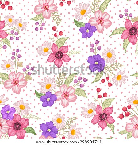 Seamless cute floral vector pattern background. Flower pattern on white background - stock vector