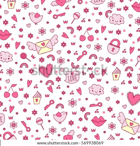 Seamless cute icon love vector pattern. Design print background image.