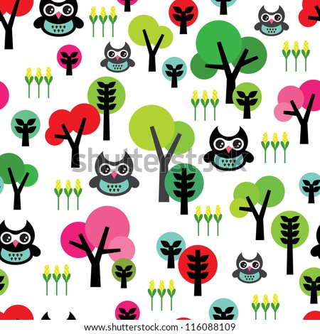 Seamless cute kids retro owl animal tree background pattern in vector - stock vector