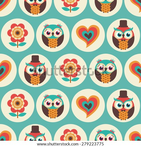 seamless cute owls cartoon pattern - stock vector
