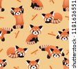 seamless cute red panda and...