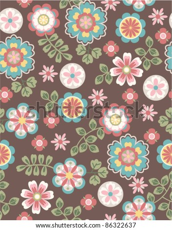 seamless cute retro flower pattern on brown background