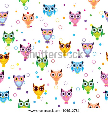 Seamless cute retro owl pattern - stock vector