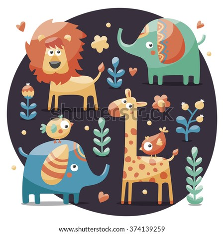 Seamless cute set made with elephants, lion,giraffe, birds, plants, jungle, flowers, hearts, leafs, stone, berry for kids - stock vector