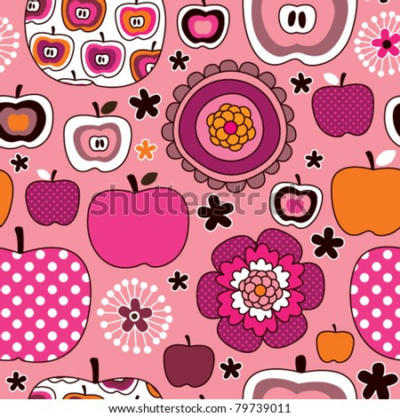 Seamless cute soft toned retro apple pattern in vector - stock vector