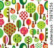 Seamless cute tree apple and pear pattern in vector - stock vector