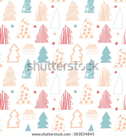Seamless cute winter pattern. Decorative gentle background with spruces, fir-trees - stock vector