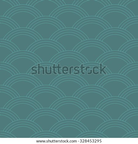 Seamless cyan oriental Japanese waves textile pattern made like stitches vector