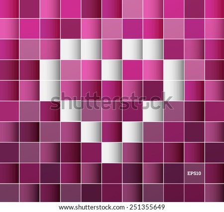 Seamless 3d pattern background with heart symbol built of cube elements for website wallpaper, banner, brochure design - pink, purple version - stock vector