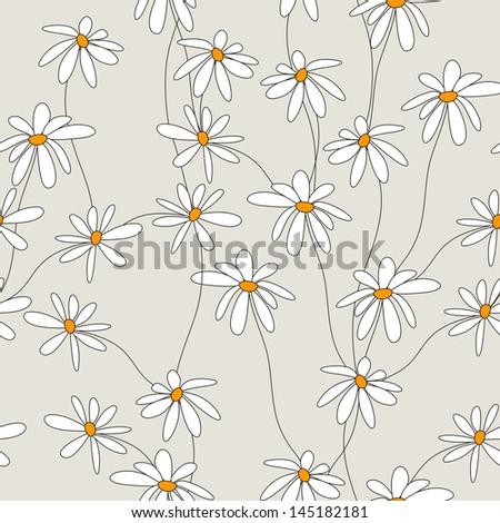 seamless daisies - stock vector