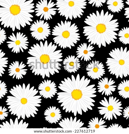 Seamless daisies vector pattern  - stock vector