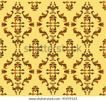 Seamless damask background - stock vector