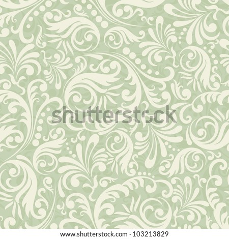 Seamless Damask background in the style of green - stock vector