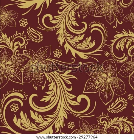Seamless Damask floral background pattern