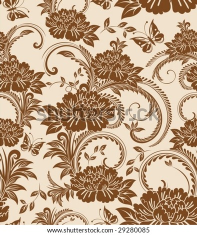 Seamless Damask floral background with butterfly - stock vector