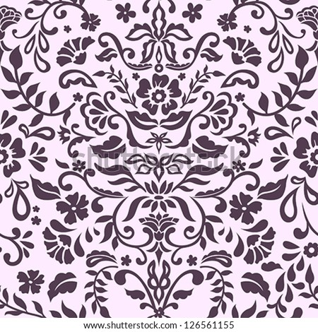 Seamless Damask Floral Pattern - stock vector