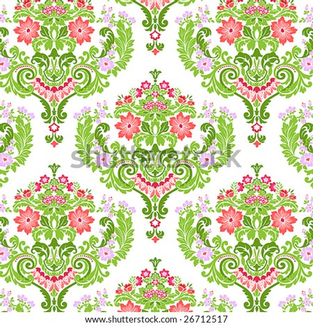 Seamless Damask floral pattern. Vector illustration. - stock vector